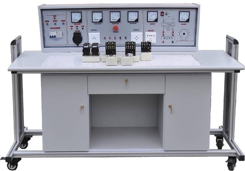 一、MY-12A 通用电力拖动实验室成套设备概述: 目前国内电力拖动实验器材大多是散件、无正式实验台桌及功能齐全的电源控制柜。我厂聘请专家潜心研究,研制成功该套功能完善的实验设备,其电源控制柜具有三相漏电开关,十分醒目的带自锁急停按钮等,以保证实验人员人身及实验设备的安全。有表指示工作电流及电压、功能齐全。最巧妙的是实验元器件均已装在元件盒上,实验时不需螺丝固定仅需把元件盒随意插入通用底板即可连线实验,大大提高实验速度。示教台上立式演示屏能使学生非常清楚的视听教师讲解。MY-12A 通用电力拖动实验室成